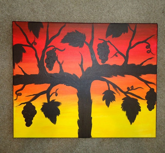 Grapevine Sunset Silhouette-Original Artwork-Acrylic Painting