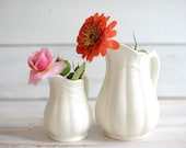 Vintage, off white, English ironstone, English decor, country decor, wheat pattern, pitchers