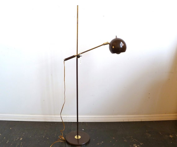 Vintage brown eyeball floor lamp reading lamp mid century for Retro floor reading lamp