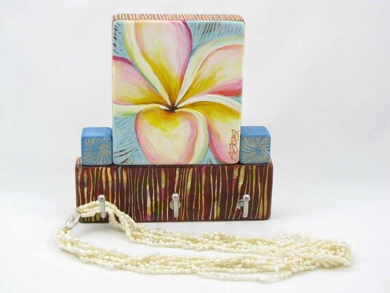 Jewelry Hooks,Organizer, Painted, Plumeria, Hawaiian Flower