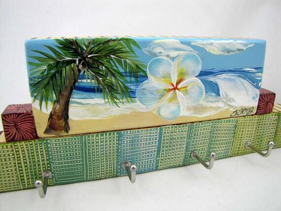 Hawaiian Beach, Jewelry Hooks, Wall Hook Organizer, Surf