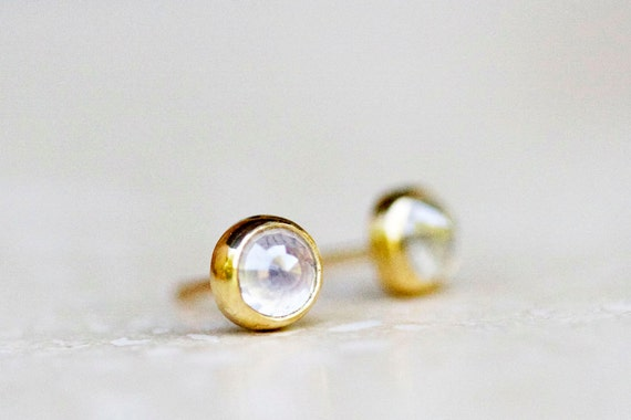 Diamond stud earrings - white rose cut diamonds with 18k gold