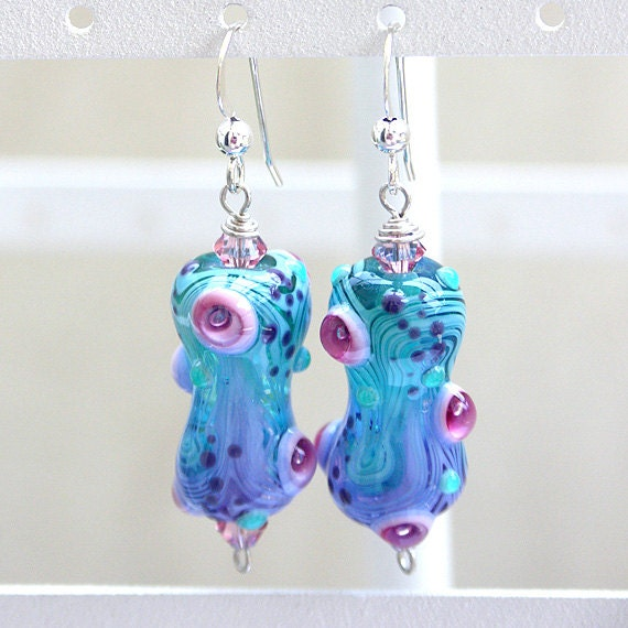Glass Earrings in Aqua, Purple and Fuchsia - Handmade Lampwork and Sterling Silver