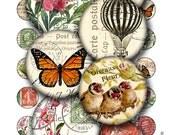 carte postale 1 inch round images Printable Download Digital Collage Sheet 1 inch circle diy jewelry pendant vintage postcard stamp flower