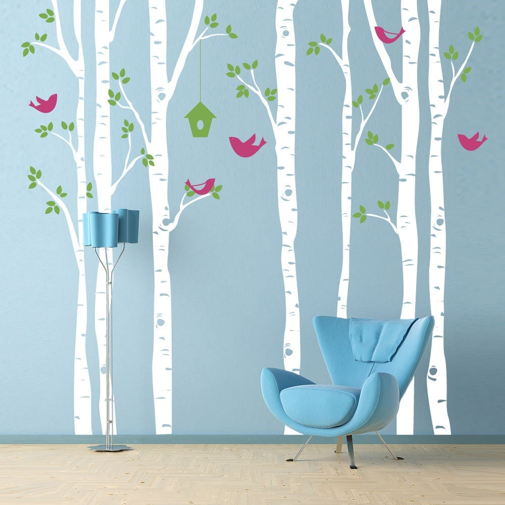 Birch trees wall decal with birds extra large wall mural for Bird and owl tree wall mural set