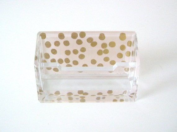 Lucite Business Card Holder - Blush or White & Gold Confetti