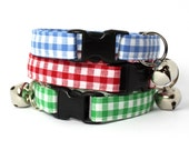 Gingham Breakaway Cat Collar in Red Blue or Green