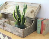 Antique tool box        wood box       rustic       divided       industrial       weathered gray    textured   long...