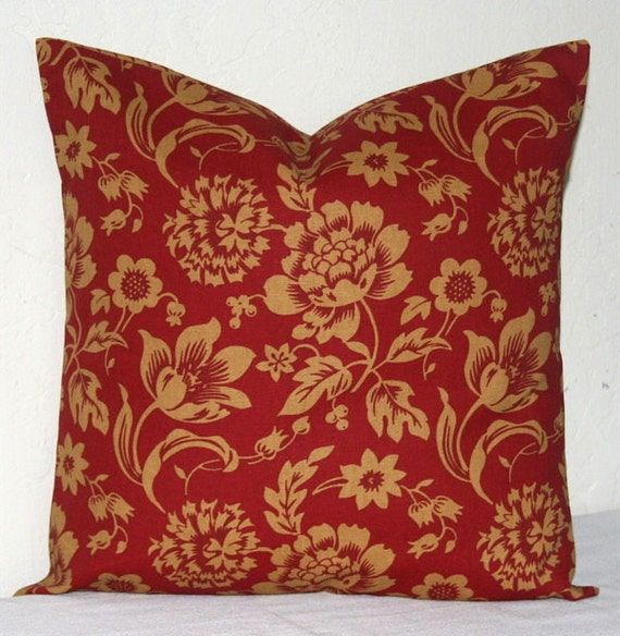 Red and tan gold 18 inch decorative pillows accent pillows for Beige and gold pillows