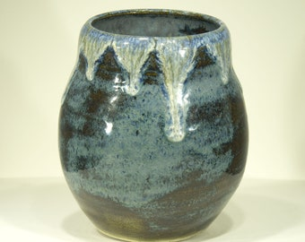 Ceramic Vase, Blue Icing, Mottled Glaze, Ornamental Vessel, 7