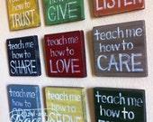 "RESERVED for STACEY Canvas- SET of 9 - ""Teach Me""  Blocks -Nursery Art- Child's Room, Home Decor, Faith Based Art"