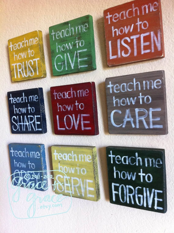 "RESERVED for STACEY Canvas- SET of 9 - ""Teach Me""  Blocks -Nursery Art- Child's Room, Home Decor, Faith Based Art"