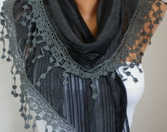 Black & Dark Gray Scarf, Shawl Cowl Scarf Bridesmaid Gift Gift Ideas For Her Women Fashion Accessories Mother's Day  Gift