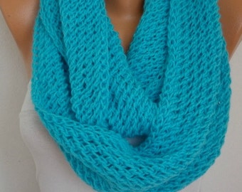 Turquoise Knit Infinity Scarf Cowl Circle Scarf Loop  Scarf Gift  Baby Yarn chunky Gift Ideas For Her Women Fashion Accessories