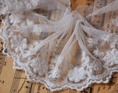 White Embroidery Lace Trim Nets Yarn Lace Cotton Embroidery  2Yard 8cm Wide