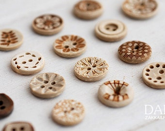 10Pcs Natural Coconut Shell Buttons Wood Shell Buttons