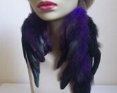 Deep Purple and Black Asymmetrical Feather Earrings