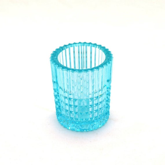 Antique Cut Glass Aqua Toothpick Holder Ribbed Daisy