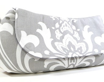 Clutch Purse - Grey White Damask Fold Over Clutch, Bridesmaid Clutch, Wedding Clutch