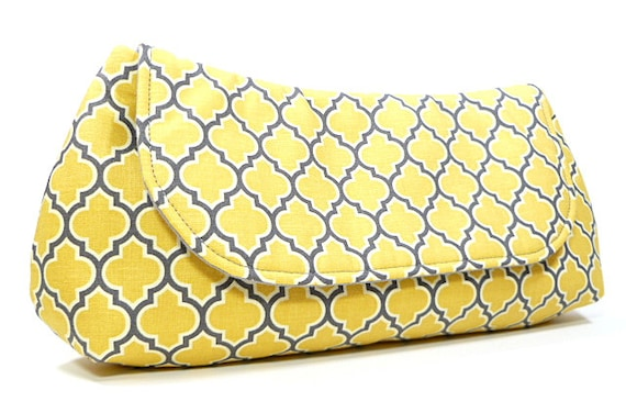 Clutch Bag Purse - Yellow Gray Lattice Fold Over Clutch, Bridesmaids Clutch, Gifts for Her