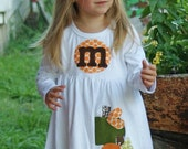 Toddler Fall Dress - Toddler Dress or Girl's Dress- Personalized Dress with Three Pumpkin Appliques -Choose Dress Color and Sleeve Length