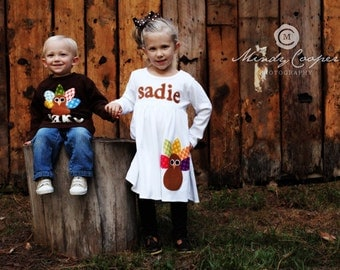 Turkey Thanksgiving Outfits - Brother Sister Sibling Set -  Thanksgiving Applique Outfits
