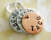 Personalized Small Dog Pet Tag - Small Cat Tag - ID Tag - Hand Stamped Washers and Copper Disc with phone number and name