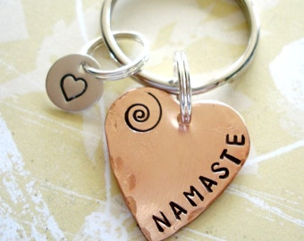 NAMASTE - Hand Stamped Copper Heart Key Chain with Sterling Silver Disc