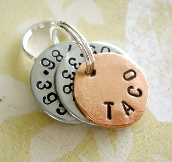 Personalized Small Dog Tag - Small Cat Tag - ID Tag - Hand Stamped Washers and Copper Disc with phone number and name