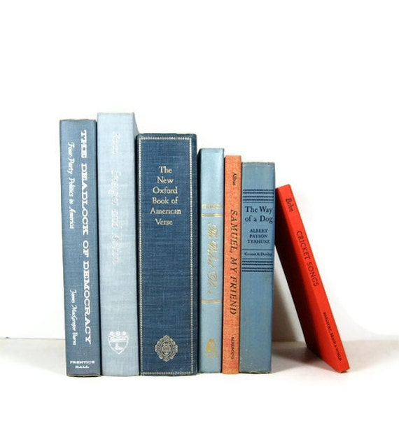 Instant Book Collection Blue Vintage Decorative Books for Wedding  Home Decor Photography Prop