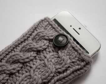 Silver Gray Double Cable Knit Phone Case (iPhone 3/4/4S/5/5S/5C/6/6+/7/7+)
