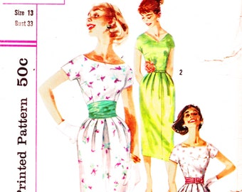 1950s Bust 33 Misses Dress Evening Vintage Sewing Pattern Cummerbund Party Simplicity 2025 c 1956 50s