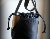 SALE metal edge faux leather bucket bag