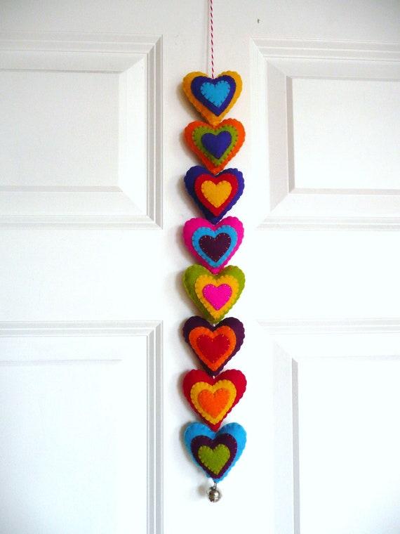 Colorful felt hearts garland