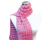 Cotton scarf pastel pink crochet scarf spring neckwarmer in beautiful soft baby cotton kapok
