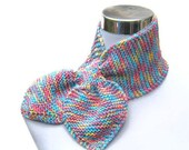 Pastel scarflette hand knit scarf knitted bow neck warmer handmade knitted scarf in pastel colors