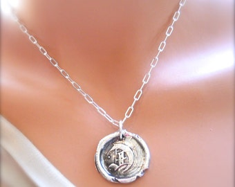LARGE Silver Wax Seal Jewelry Initial Edwardian, Old English Pendant, Men's Jewelry  Monogram .
