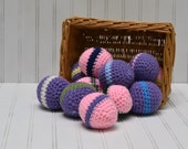 Crochet Ball Toy Pink and Purple for Cats, Dogs, and Kids