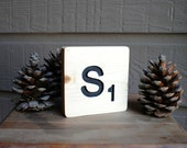 Carved S Tile - Reclaimed Wood, Hand Painted