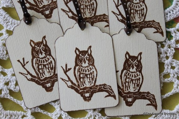 Screech Owl Tags - Hand Stamped in Brown, Set of Six from Original Hand Carved Stamp, polka dot ribbon