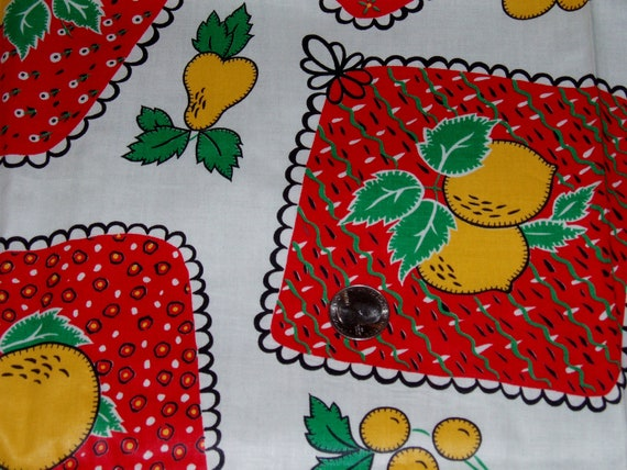 """Pretty Vintage Cotton Fabric 35"""" Wide x 2 yards, Fruit Design, Lemons, Pears, Bright yellow and red"""
