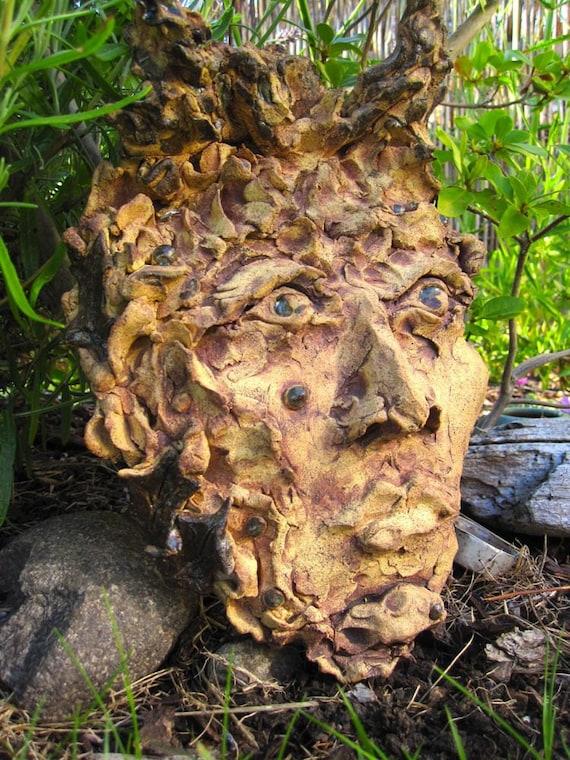 Holly King Garden Sculpture Mask Indoor Outdoor Decor
