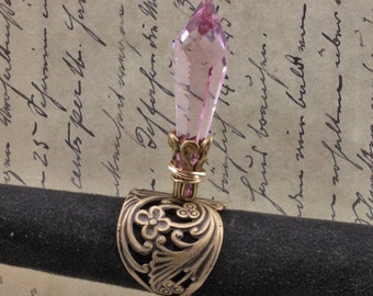 Pink Briolette Swarovski Crystal Ring set in Brass Adjustable