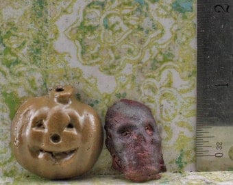 Raku Pumpkin and Skull Head Cabochon
