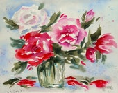 Loose Watercolor of Red Pink Rose Bouquet by Colorado Artist Martha Kisling