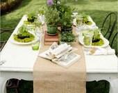 "Burlap Table Runner 12"" x 72"" - Rustic Wedding, Shabby Chic Wedding, Table Decoration, Holiday Decoration"