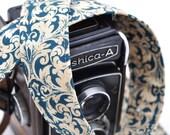 Fashion Camera Strap - dSLR Camera Strap, Ocean Damask, Blue Camera Strap - Designer dSLR Strap- Gift for Photographers
