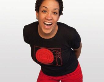 DJ record player shirt, women's XL t-shirt retro, hip hop fashion music