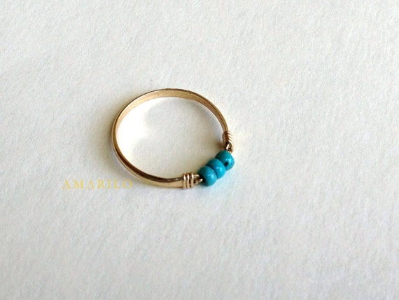 Tiny Turquoise Ring 14 kt gold fill