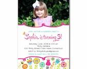 Garden Party Birthday Photo Invitation for a Girl - PRINTABLE DIY Digital or Printed Design (optional)